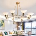 Ivory Glass Saucer Chandelier Lighting Modern Style 8 Heads Golden Pendant Light Fixture for Living Room