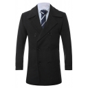 Mens Popular Solid Color Notched Lapel Double Breasted Slim Pea Coat Longline Wool Coat