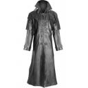 Popular Solid Color Black PU Leather Buckle Front Longline Vintage Coat Jacket