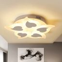 Heart Acrylic Ceiling Lamp Simple Style White LED Flush Mount Lighting in Remote Control Stepless Dimming/Warm/White Light, 18