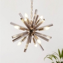 Sputnik Chandelier Light Fixture Modern Smoke Gray Crystal 9 Bulbs Brass Ceiling Pendant Light for Living Room