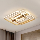 Square Acrylic Ceiling Lamp Postmodern Gold LED Flush Mount Fixture in Warm/White Light