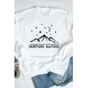 NURTURE NATURE Letter Mountain Star Pattern Long Sleeve Graphic Pullover Sweatshirt