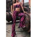 Fancy Rose Red Lightning Pattern Crop Tube Top with Flared Pants Two Pieces Co-ords
