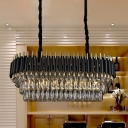 Black Oval Chandelier Light Fixture Contemporary 6/8 Heads Three Sided Crystal Rod Hanging Lamp