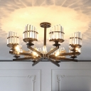 Crystal Block Radial Chandelier Light Fixture Traditional 3/6/8 Heads Living Room Hanging Lamp in Black/Brass