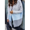 Cute Girls' Slouchy Long Sleeve Hooded Contrasted Oversize Midi Cocoon Cardigan