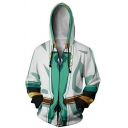Mens Casual Colorblock Long Sleeve Zip Placket Side Pocket Drawstring Cosplay Hoodie
