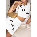 White Chic Letter CHA Printed Sleeveless Cropped Tank Top with Knitted Mini Bodycon Skirt