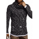 Men's Fashion Solid Color Cowl Neck Ripped Detail Knit Pullover Sweater