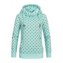 Ladies Classic Heart Pattern Long Sleeve Funnel Neck Fitted Thick Pullover Hoodie