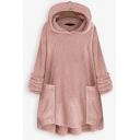 Casual Warm Bell Sleeve Patch Pockets Fuzzy Oversize Plain Hoodie for Women