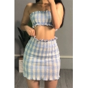 Classic Light Blue Plaid Print Stringy Selvedge Pleated Tube Tank & Mini Skirt Co-ords