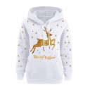 New Arrival Shiny Sequined Letter MERRY CHRISTMAS Elk Print Long Sleeve Loose Hoodie