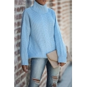 Street Plain Long Sleeve Turtleneck Cable Chunky Knit Baggy Pullover Sweater for Women