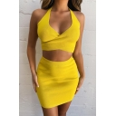 Womens Fashionable Yellow Cross Halter Cami Top with Mini Skirt Two Piece Co-ords