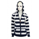 Classic Navy Striped Pattern Long Sleeve Zip Up Slim Fit Pullover Hoodie