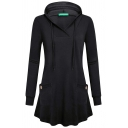 Womens Lounge Solid Color Long Sleeve Dual Pocket Loose Fit Swing Hoodie