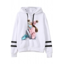 Women's Cute Popular Long Sleeve Hooded Drawstring Mommy and Kids Patterned Loose Fit Varsity Striped Hoodie in White