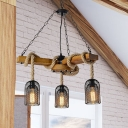 Metal Mesh Shade Chandelier Light Fixture Vintage Style 3/6 Bulbs Brown Ceiling Lamp with Hanging Rope