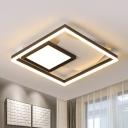 Metal Rectangle Ceiling Fixture Modernism Black-White 16