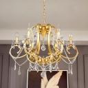 Candelabra Empire Chandelier Contemporary Crystal 6 Lights Brass Hanging Lamp Kit for Living Room