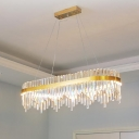 LED Waterfall Ceiling Chandelier Modernist Crystal Pendant Fixture Light in Gold