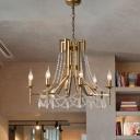 Beaded Chandelier Lighting Contemporary Crystal 6 Bulbs Brass Suspension Pendant Light