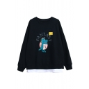 Girls' Cute Fashion Long Sleeve Round Neck FANTASY Letter Dinosaur Printed False Two-Piece Oversize Sweatshirt