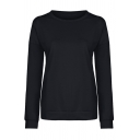 Womens Active Striped Long Sleeve Round Neck Slim Fit Simple Pullover Sweatshirt