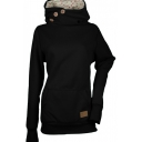 Leisure Plain Button Embellished Funnel Neck Long Sleeve Fitted Pullover Hoodie