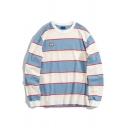 Korean Style Women Long Sleeve Crew Neck Stripe Print Letter HERE I AM Baggy Pullover Sweatshirt in Blue