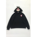 Lovely Bear Embroidery Long Sleeve Pouch Pocket Oversized Pullover Hoodie