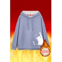 Girls Lovely Cat Printed Long Sleeve Blue Thick Drawstring Hoodie
