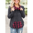 Fashion Ladies' Long Sleeve Funnel Neck Drawstring Plaid Print Patched Kangaroo Pocket Loose Fit Sweatshirt