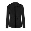 Casual Cozy Long Sleeve Drawstring Zipper Front Pockets Side Slim Fit Plain Hoodie for Women