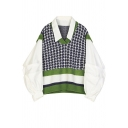 Unique Girls' Puff Sleeve Lapel Collar Houndstooth Stripe Printed False Two-Piece Oversize Knit Pullover Sweater in White