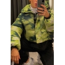 Women's Fashion Street Long Sleeve Turn Down Collar Tie-Dye Zipper Front Crop Loose Down Jacket in Green