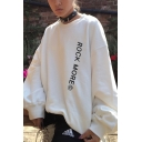 Chic Girls' Long Sleeve Crew Neck Letter ROCK MORE Oversize Pullover Sweatshirt in White