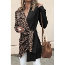 Sexy Women's Long Sleeve Surplice Neck Leopard Printed Tied Waist Asymmetric Midi Fitted Wrap Coat