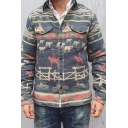 Mens Stylish Cow Pasture Painted Long Sleeve Button Up Cotton Blend Leisure Jacket