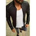 Guys Unique Black Long Sleeve Zip Placket Slim Fit Diamond Quilted PU Leather Jacket