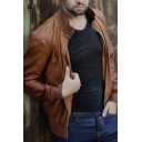 Handsome Mens Plain Stand Collar Long Sleeve Zip Up Casual PU Leather Jacket