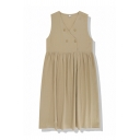Plain Casual Sleeveless Surplice Neck Button Decoration Midi Pleated Babydoll Dress for Girls
