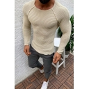 Whole Colored Long Sleeve Round Neck Slim Fit Knitted Pullover Sweater for Men