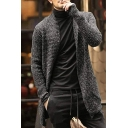 Charming Mens Plain Long Sleeve Open-Front Tunic Knitted Cardigan Coat