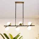 Postmodern Linear Island Light Fixture Metal 6 Heads Dining Room Hanging Light Fixture in Black