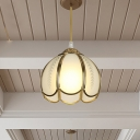 White Glass Scalloped Hanging Light Fixture Colonialist 1 Light Porch Ceiling Pendant