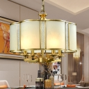 Colonial Scalloped Chandelier Lighting Fixture 3/4 Heads Frosted White Glass Pendant Ceiling Light for Dining Room