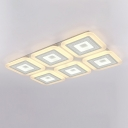 Simple Square Ceiling Light Acrylic Living Room LED Flush Mount Lighting in White